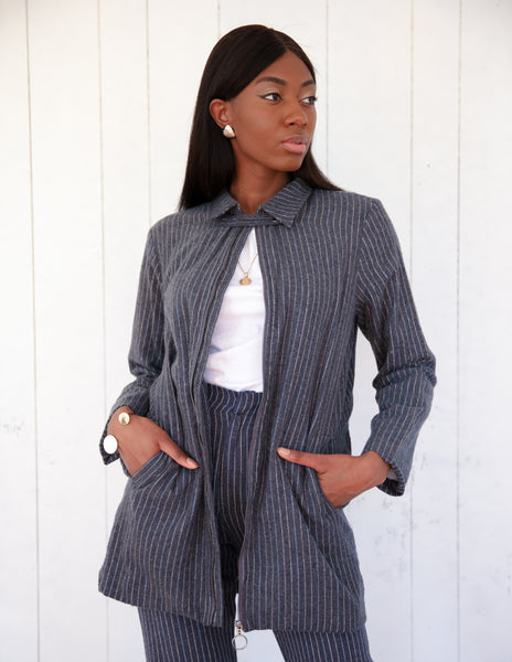 Mojo Suit Jacket ~ Charcoal Grey Pinstripe