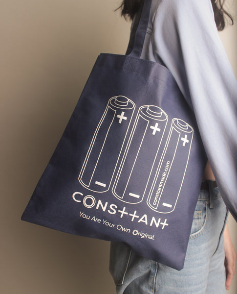 Consttant Graphic Print Tote Bag ~ Navy Blue