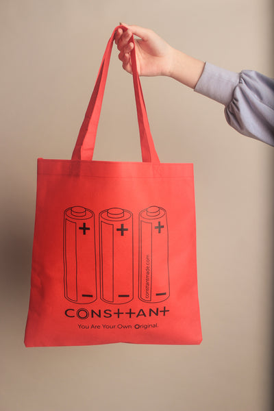 Consttant Graphic Print Tote Bag ~ Strawberry Red