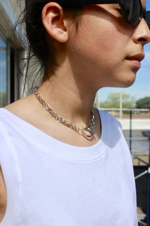 Pima cotton white tank top and chain choker, hand made jewelry from Consttant