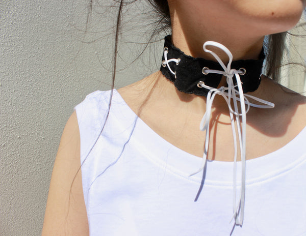 Monochrome velvet choker made by Consttant designer Marisa Lee