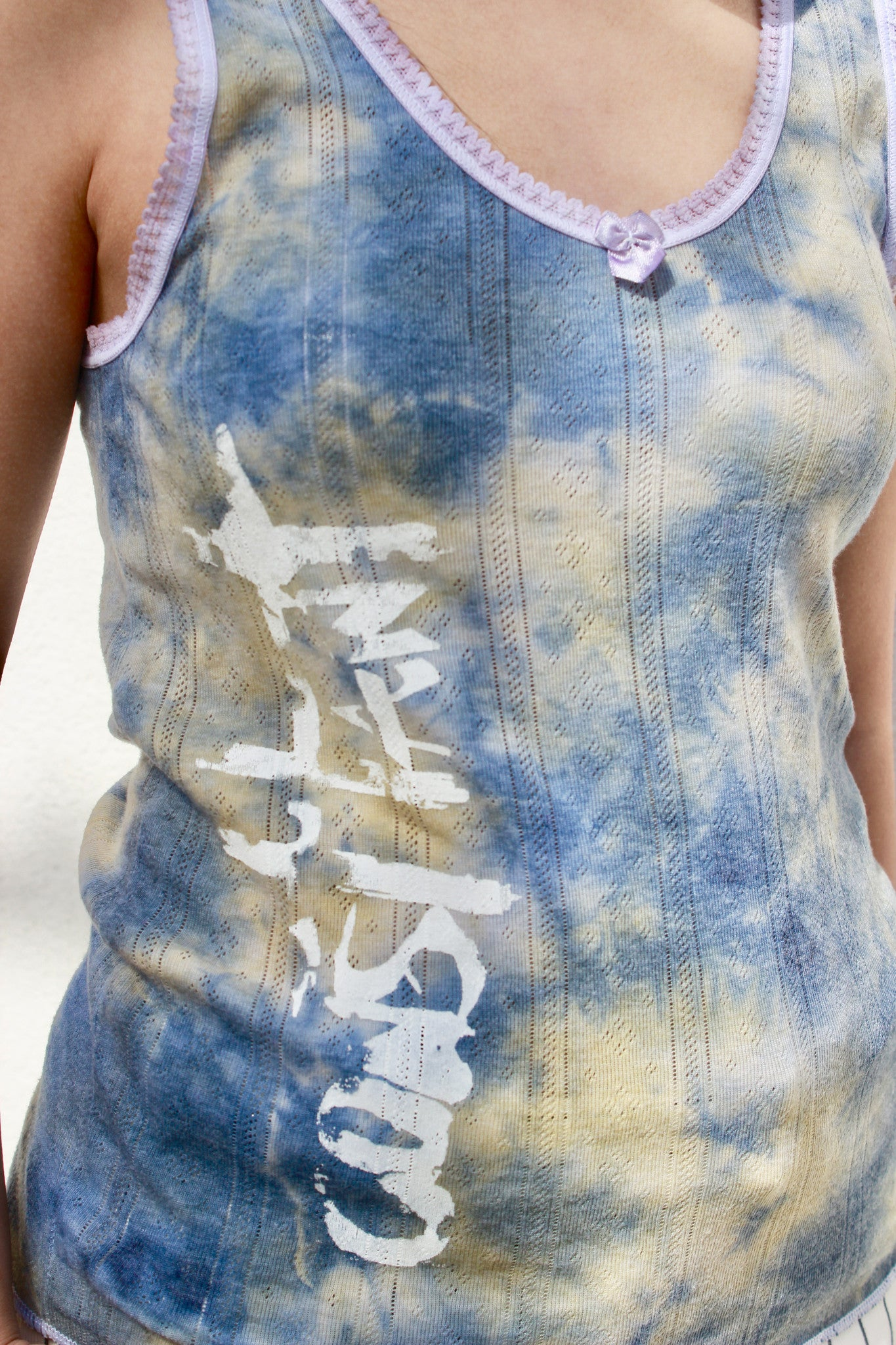 women's tye dye tank top with hand printed design