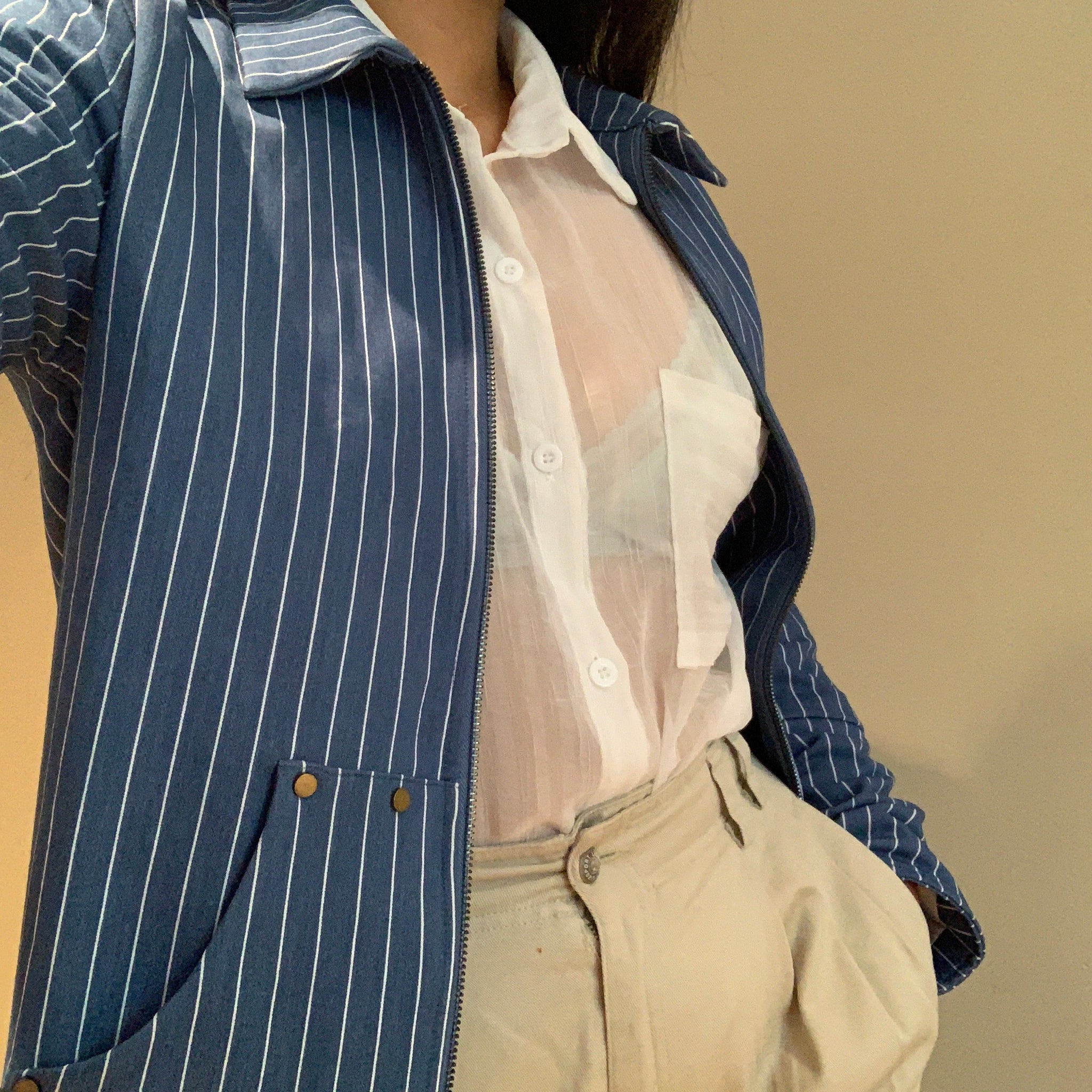 Teresa Workwear Jacket ~ Blue Pinstripe