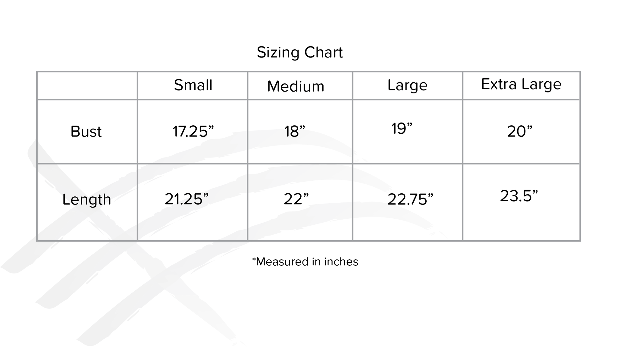 sizing chart for soft womens tank top