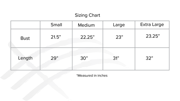 sizing chart for consttant clothing unisex white t-shirt