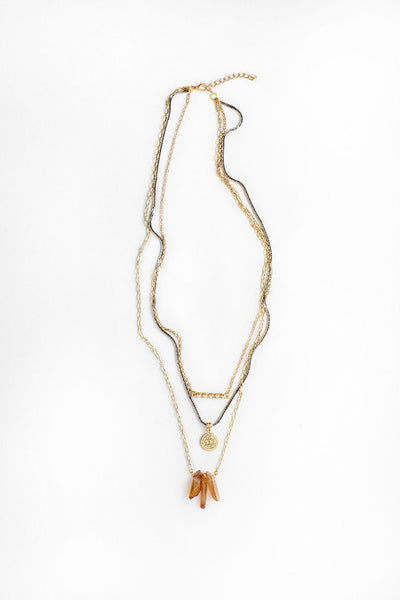 TRIPLE LAYERED NECKLACE-Lydia LLC