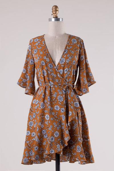 CARAMEL FLORAL DRESS-Lydia LLC