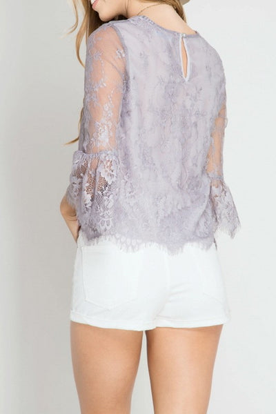 SCALLOPED HEM LACE TOP-Lydia LLC