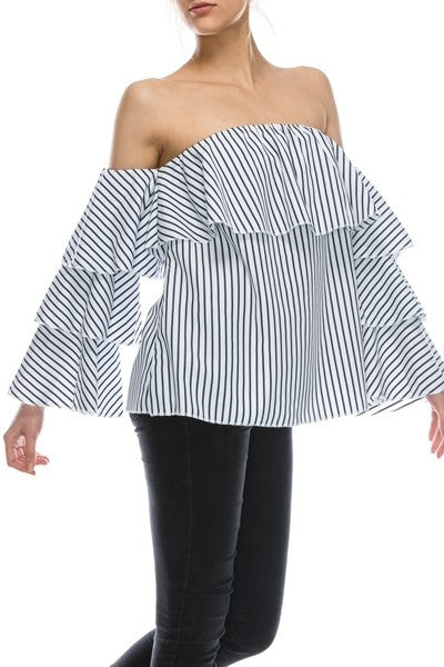 STRIPE OFF THE SHOULDER RUFFLE-Lydia LLC