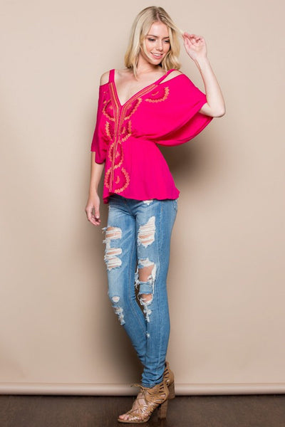 EMBROIDERY COLD SHOULDER TOP-Lydia LLC