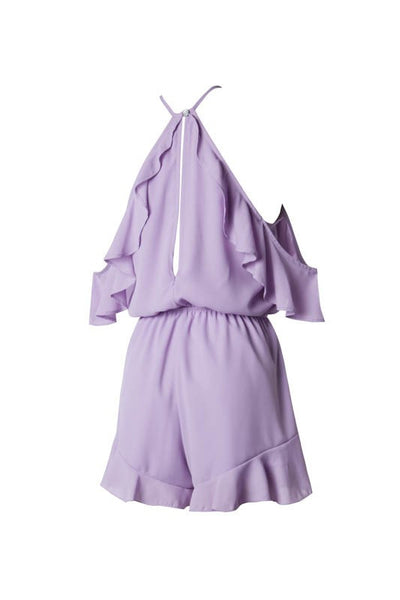 OPEN SHOULDER ROMPER W/ RUFFLE-Lydia LLC