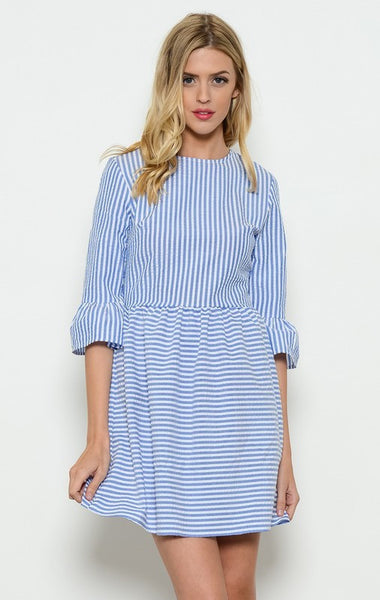 DERBY STRIPED LONG SLV DRESS-Lydia LLC