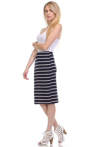 SAILOR STRIPE SKIRT - NAVY-Lydia LLC