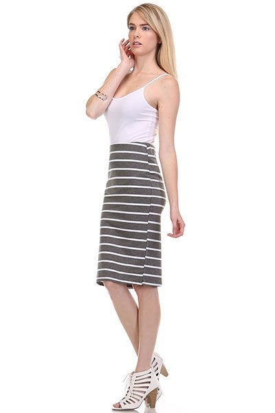 SAILOR STRIPE SKIRT - GREY-Lydia LLC