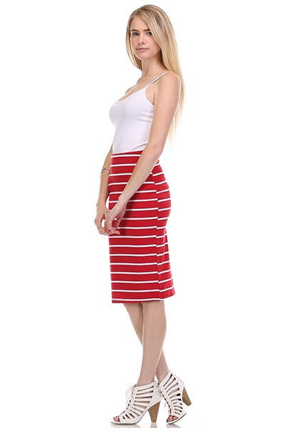 SAILOR STRIPE SKIRT - RED-Lydia LLC