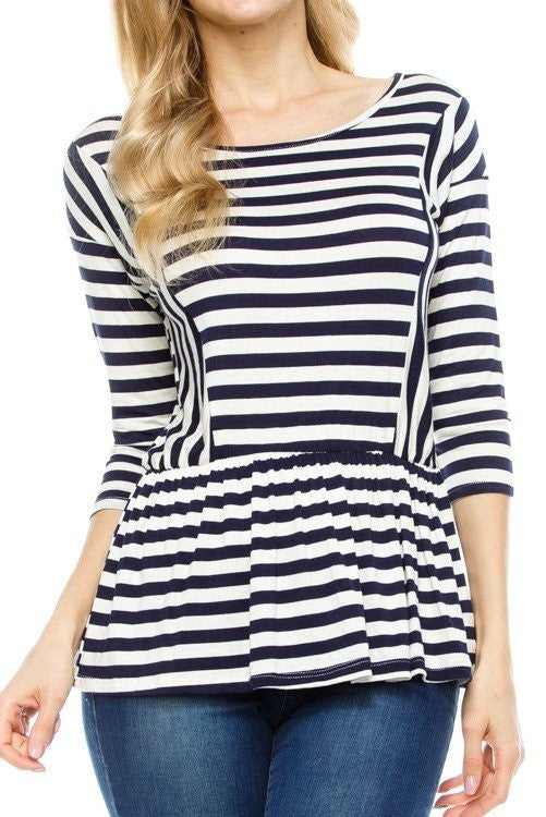 ROUND NECK STRIPED PRINT-Lydia LLC