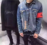 Fashion Hi-Street Men Ripped Jean Jackets Shoulder Zipper Distressed Denim Jacket Man Slim Fit Streetwear Hip Hop Vintage Jacket - RawSells - 6