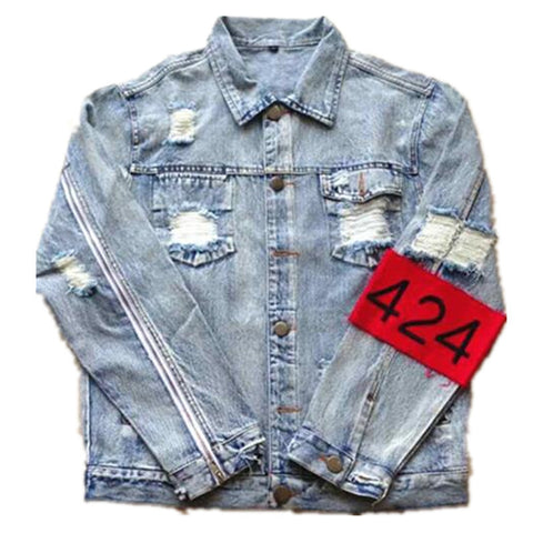 Fashion Hi-Street Men Ripped Jean Jackets Shoulder Zipper Distressed Denim Jacket Man Slim Fit Streetwear Hip Hop Vintage Jacket - RawSells - 8