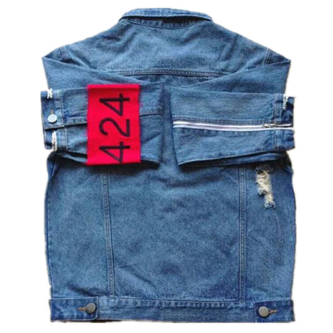 Fashion Hi-Street Men Ripped Jean Jackets Shoulder Zipper Distressed Denim Jacket Man Slim Fit Streetwear Hip Hop Vintage Jacket - RawSells