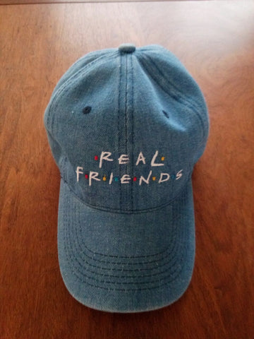 Real Friends Dad Hats In Blue, Tan, Pink and black. -  - 1
