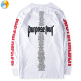 Purpose Tour Staff T-shirt men 1:1 justin bieber Rihanna Fear of God 100% Cotton Long sleeve Tee brand hip hop  t shirt homme - RawSells