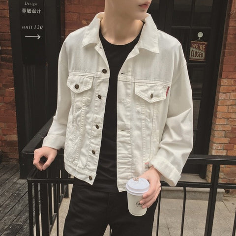White Denim Jacket Men 2016 New Concise Design Mens White Jean Jackets Korean Fashion Free Shipping - RawSells
