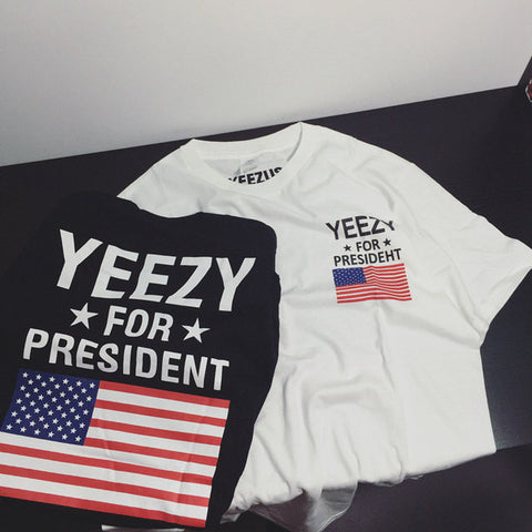 YEEZY T-Shirt Men 1:1 High Quality Yeezy For President Obama American Flag T-shirt Kanye West USA Yeezus Tees YEEZUS T Shirts -  - 1