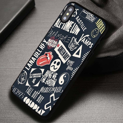 Bands Collage Sleeping with Sirens Fall Out Boy 5SOS - iPhone X Case