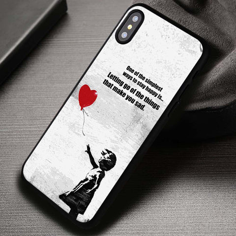 Banksy Balloon Girl with Quote - iPhone X Case