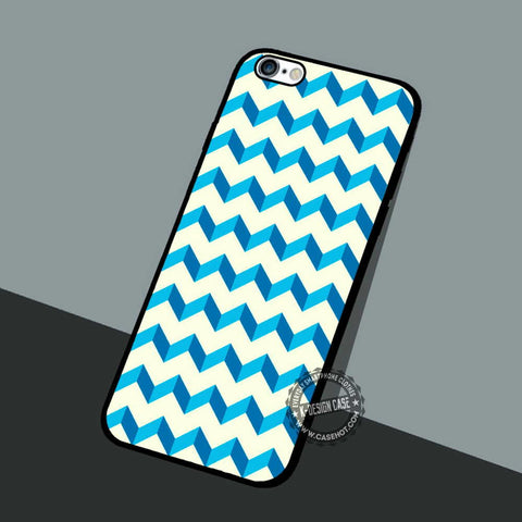 Blue and White Chervron - iPhone 7 6 5 SE Cases & Covers
