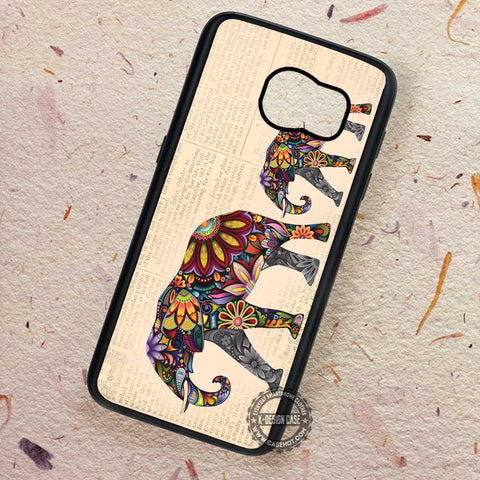 Elephant Ornate on Vintage News Paper - Samsung Galaxy S7 S6 S5 Note 7 Cases & Covers