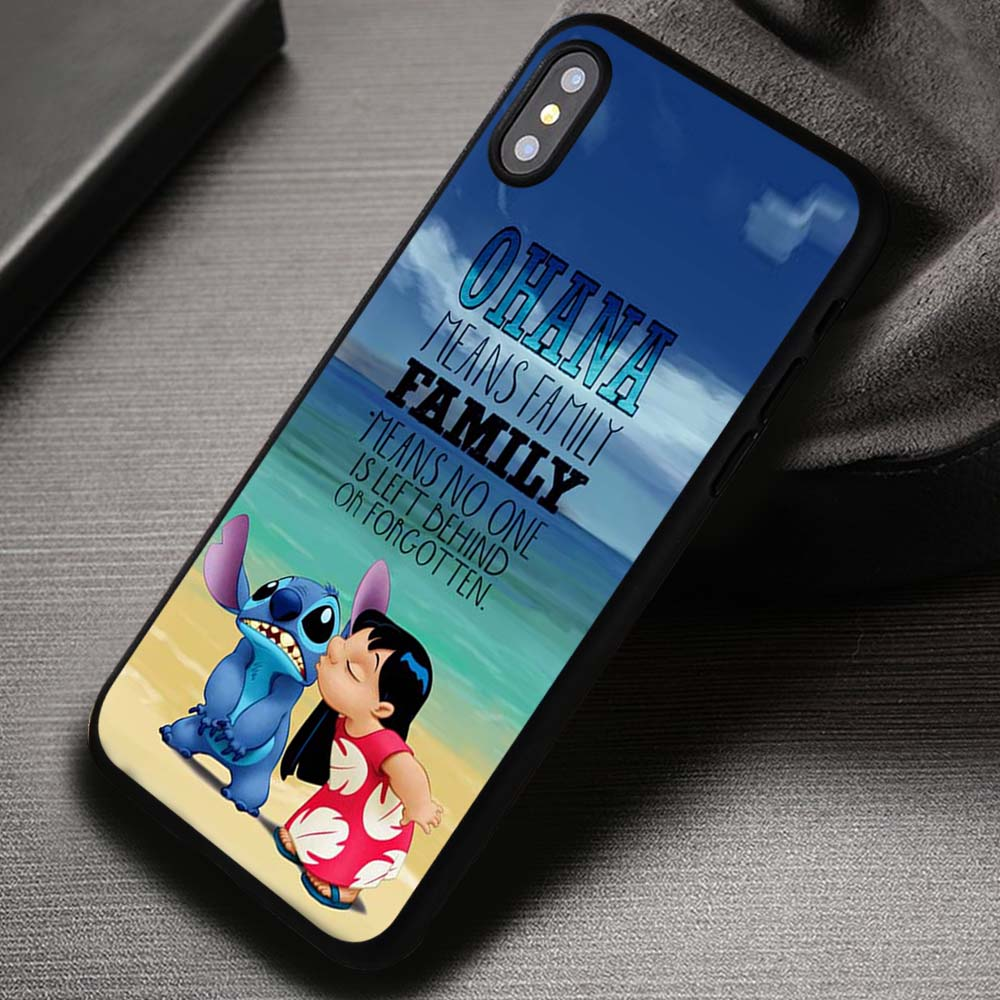 Ohana Lilo And Stitch Quote Disney Cartoon Iphone X 8 7 6s Se