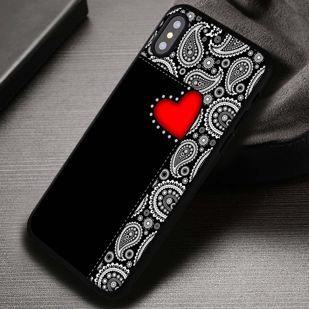 sneakers for cheap 3bf86 cc43b Paisley Red Heart Pattern Black - iPhone X 8+ 7 6s SE Cases & Covers  #iPhoneX