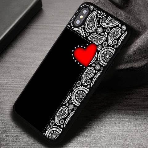 Paisley Red Heart Pattern Black - iPhone X Case