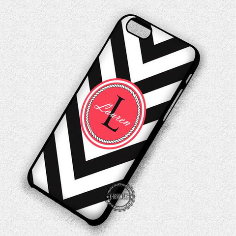 Monogram Black Chevron Personalized - iPhone 7 6 5 SE Cases & Covers