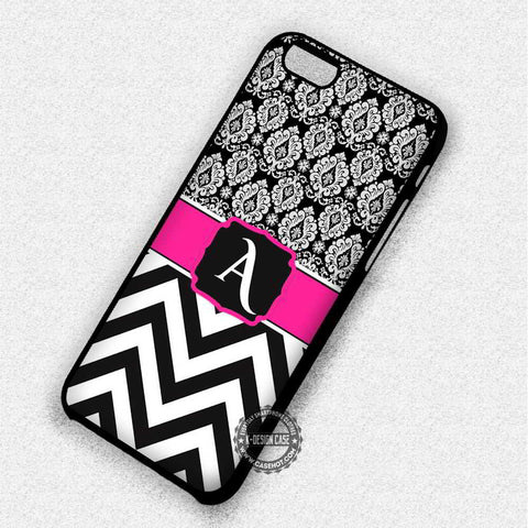 Personalized Monogram Black Chevron And Damask - iPhone 7 6 5 SE Cases & Covers