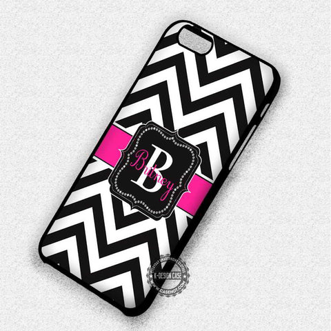 Personalized Monogram Black Chevron - iPhone 7 6 5 SE Cases & Covers