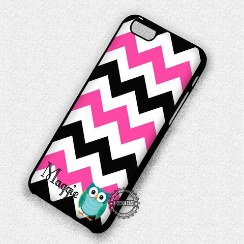 Personalized Monogram Owl And Black Pink Chevron - iPhone 7 6 5 SE Cases & Covers