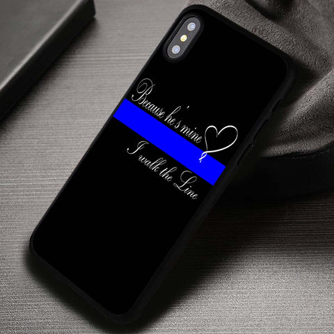 Thin Blue Line Heart Quote Wife Leo Love - iPhone X Case