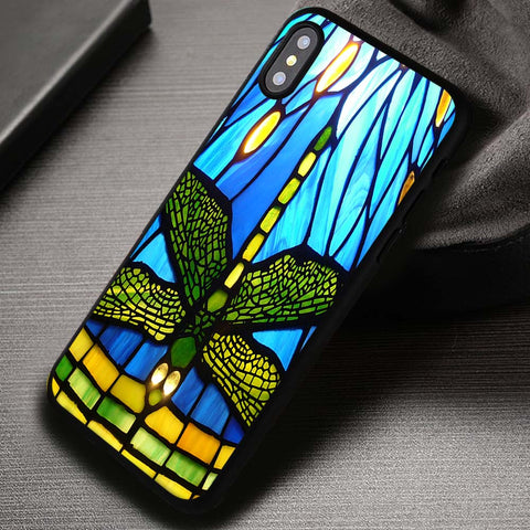 Tiffany Style Stained Glass Dragonfly - iPhone X Case
