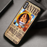 Vintage Wanted Poster Luffy One Piece - iPhone X Case