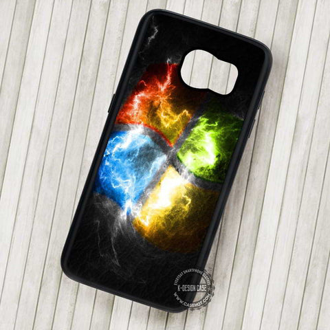 Windows Logo Fire Art Unique - Samsung Galaxy S7 S6 S5 Note 7 Cases & Covers