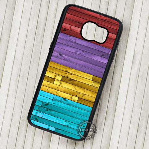 Wood Colorful Red Purple Yellow Blue - Samsung Galaxy S7 S6 S5 Note 7 Cases & Covers
