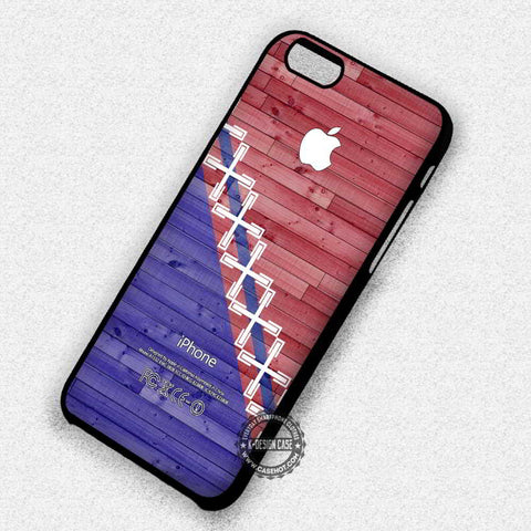 Wood Print with Geometric Pattern and Apple Logo - iPhone 7 6s 5c 4s SE Cases & Covers