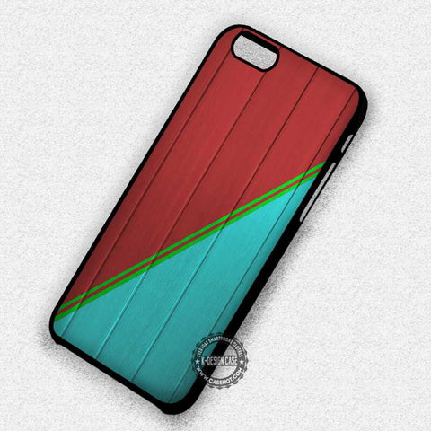 Wood Print Red Blue Stripe - iPhone 7 6s 5c 4s SE Cases & Covers