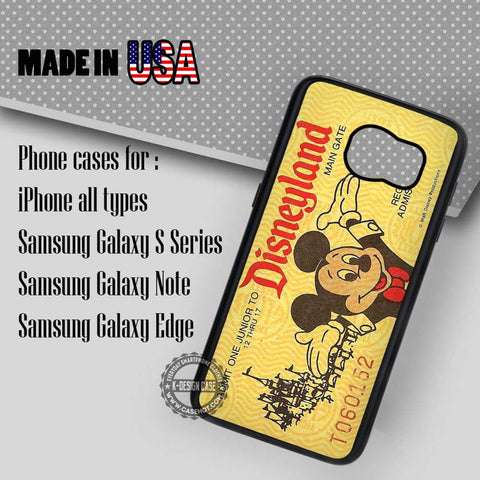 Yellow Disneyland Ticket - Samsung Galaxy S7 S6 S5 Note 5 Cases & Covers