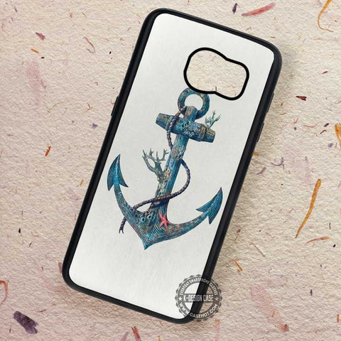 Artstic Blue Sea Anchor Point Chevron - Samsung Galaxy S7 S6 S5 Note 7 Cases & Covers