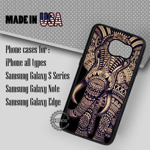 Aztec Elephant On Black - Samsung Galaxy S8 S7 S6 Note 8 Cases & Covers