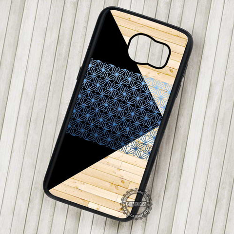 Black Triangle Wooden Pattern - Samsung Galaxy S7 S6 S5 Note 7 Cases & Covers