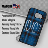 Blue Plaid Idiot - Samsung Galaxy S7 S6 S5 Note 5 Cases & Covers